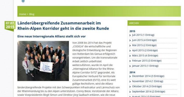 Screenshot Interreg-Blog